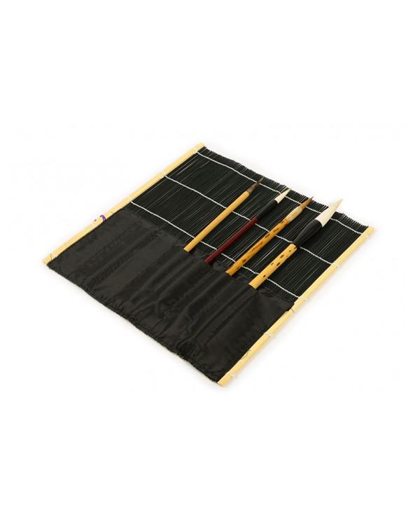 Esterilla de bambú de color negro para guardar pinceles