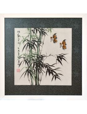 Bosque de bambú y pájaros