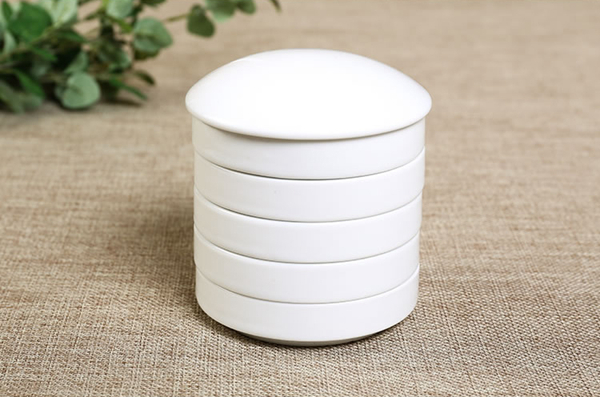 Set of five small ceramic paint dishes with lid 02