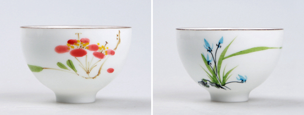 Set of hand painted oriental teacups 01