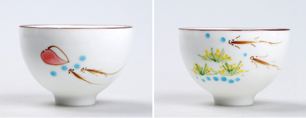 Set of hand painted oriental teacups 03