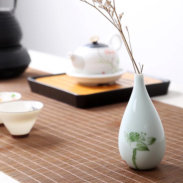 Mini floreros de cerámica oriental pintados a mano 13