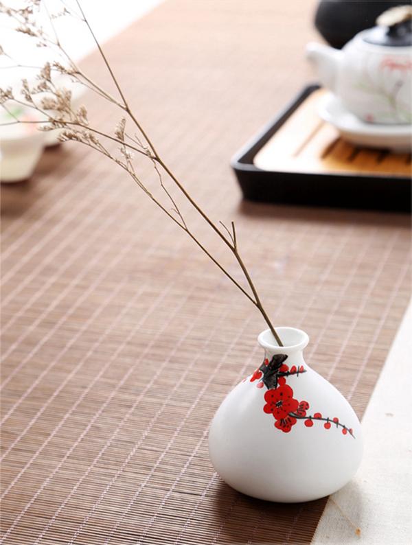 Mini floreros de cerámica oriental pintados a mano 14
