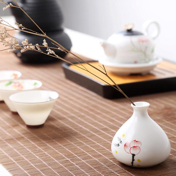 Mini floreros de cerámica oriental pintados a mano 15