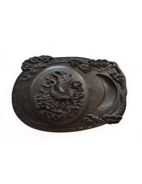Piedra de entintar con dos grullas japonesas