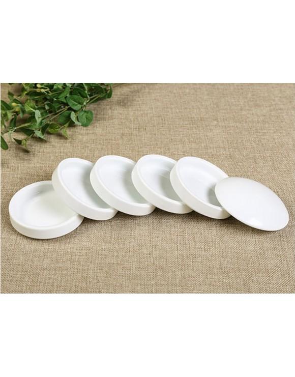 Set de cinco platitos de cerámica con tapa para pintura