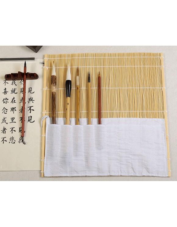 Esterilla de bambú de color natural para guardar pinceles