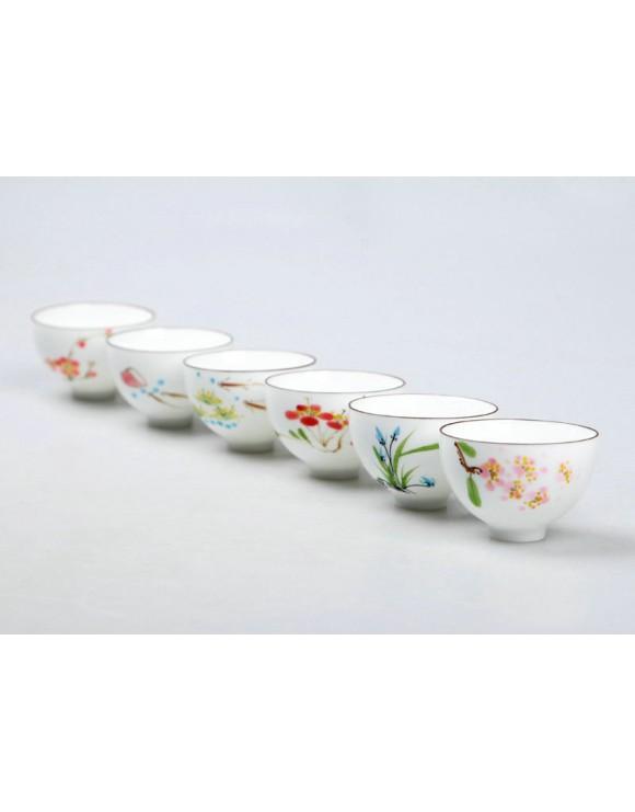 Set de tazas de té oriental pintadas a mano
