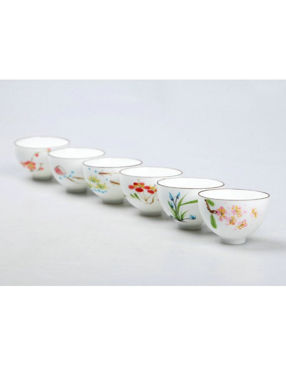 Set of hand painted oriental teacups