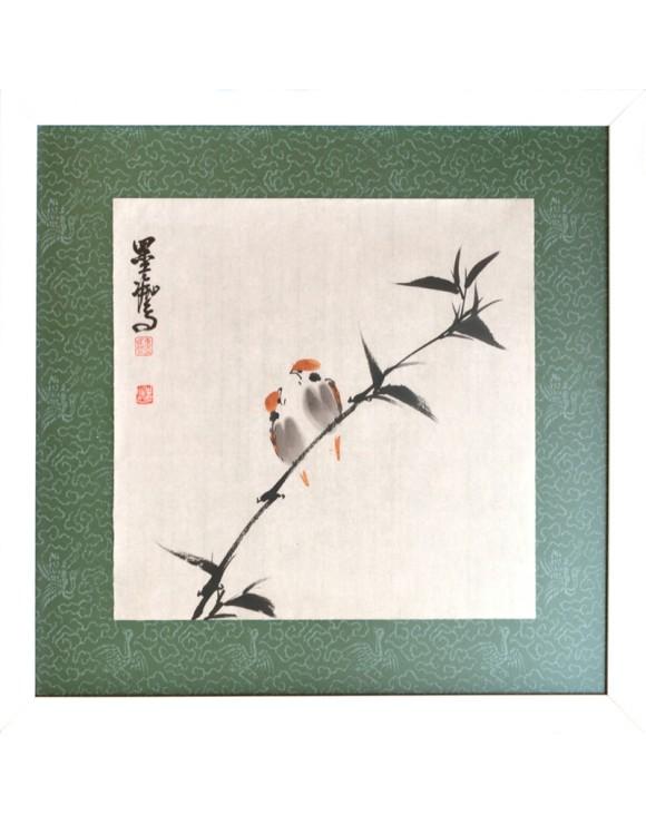 Pájaros y bambú
