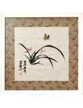 Flores de orquídea y mariposa