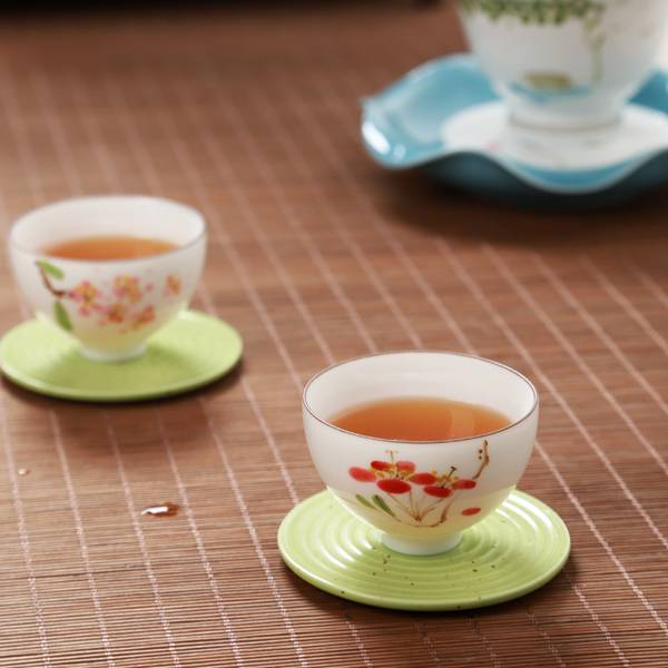 Set of hand painted oriental teacups 07