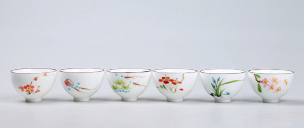 Set of hand painted oriental teacups 08
