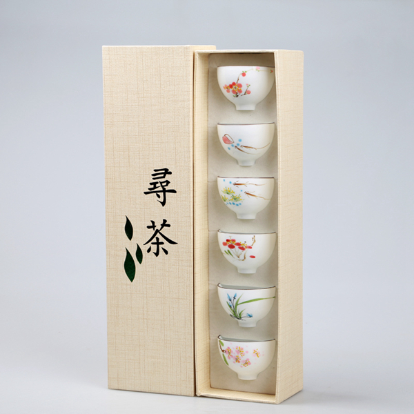 Set of hand painted oriental teacups 09