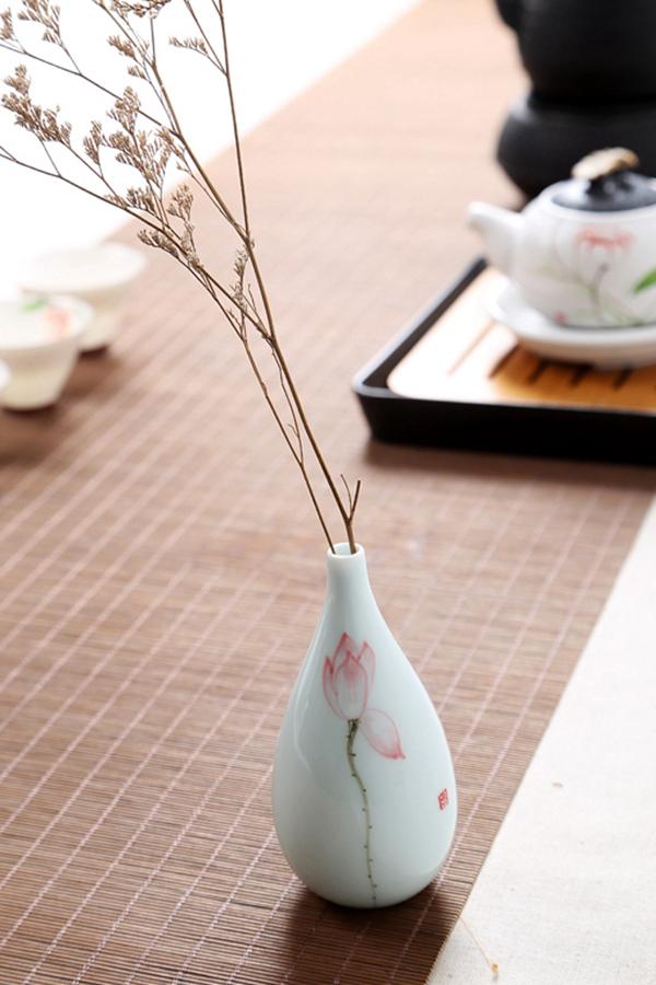 Mini floreros de cerámica oriental pintados a mano 12