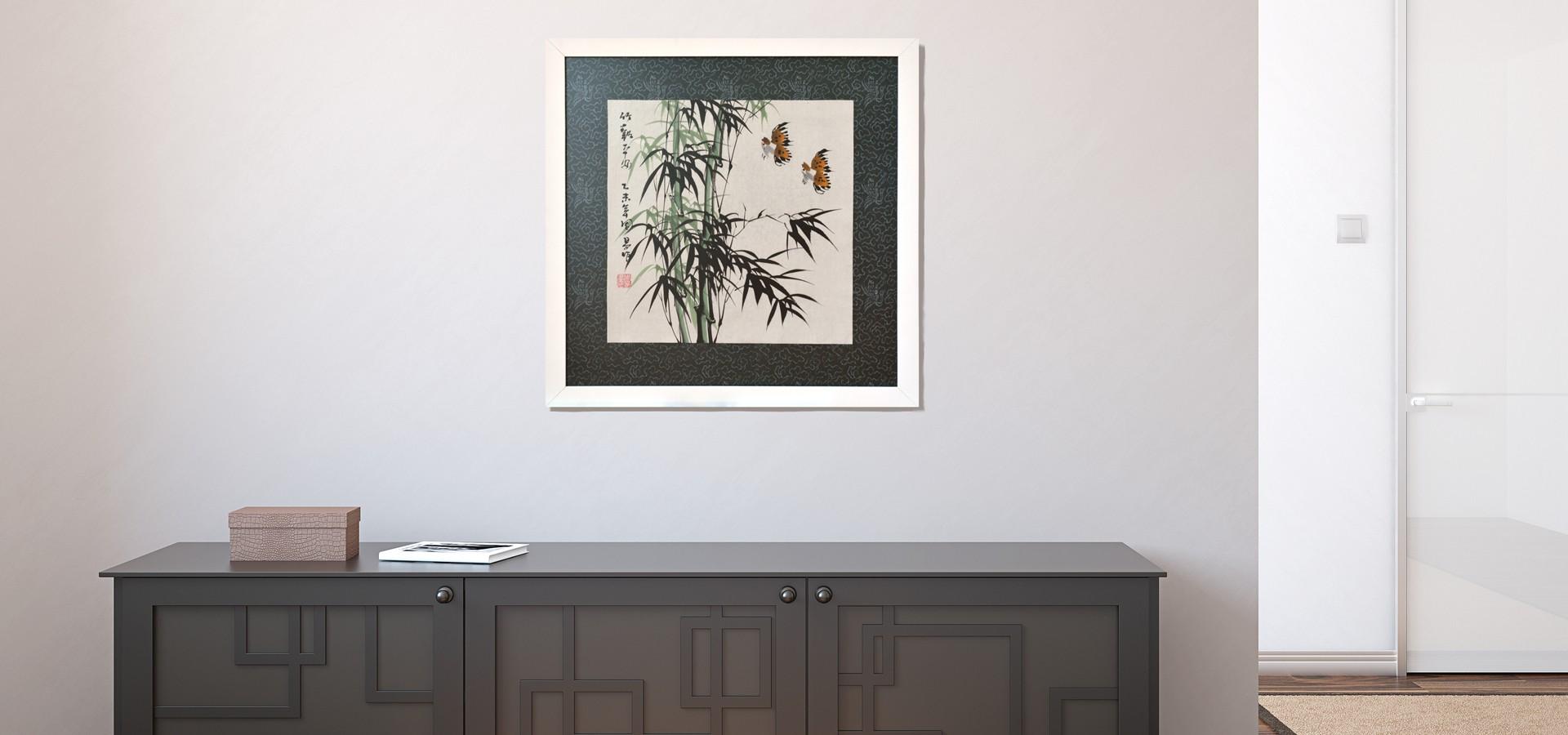 Pintura: bosque de bambú y pájaros
