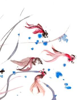 Pez Pintura a tinta Arte Oriental